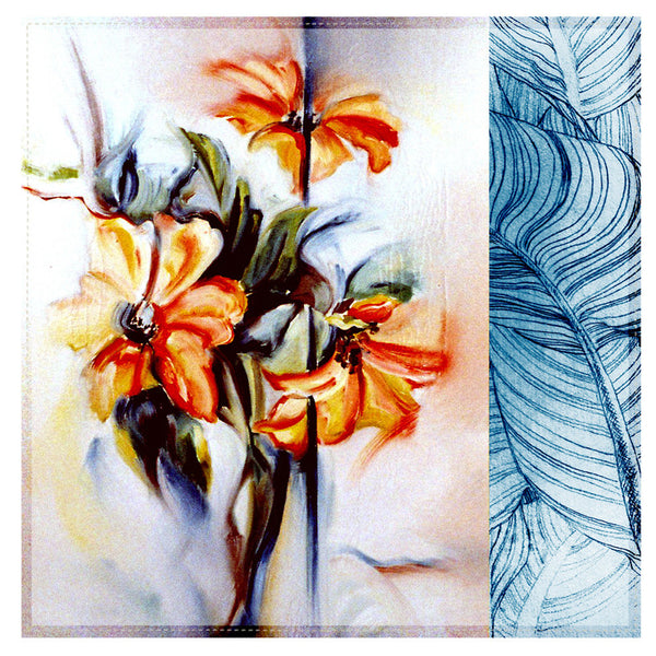 Leaf Designs Blue & Orange Floral Table Napkins - Set Of 6
