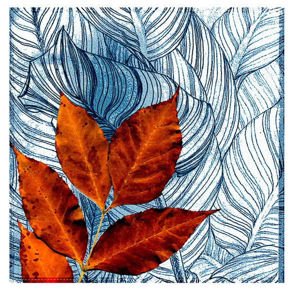 Leaf Designs Orange & Blue Floral Table Napkins - Set Of 6