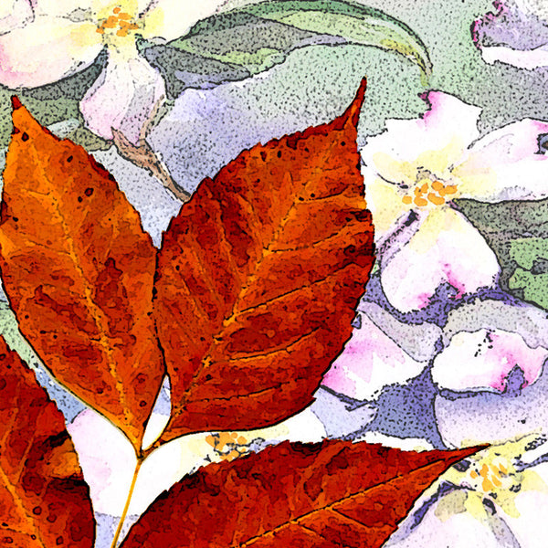 Leaf Designs Lilac & Orange Floral Table Napkins - Set Of 6