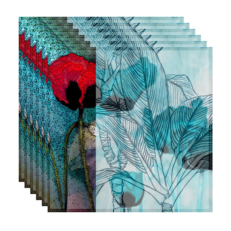 Leaf Designs Red & Aquamarine Floral Table Napkins - Set Of 6