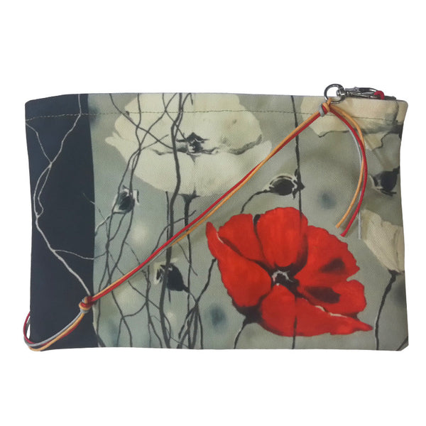 Leaf Designs Grey & Peach Floral Sling Bag