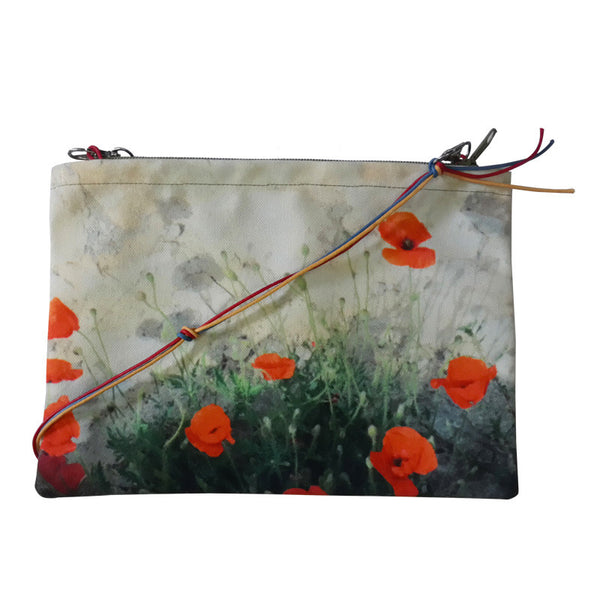 Leaf Designs Beige & Red Floral Sling Bag