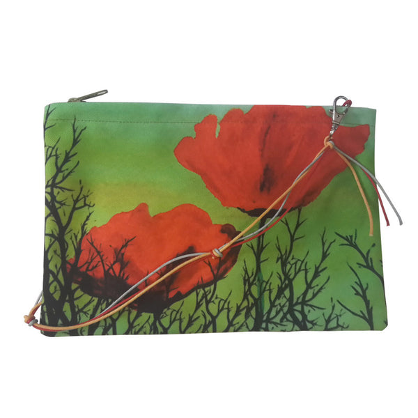 Leaf Designs Orange & Red Floral Sling Bag