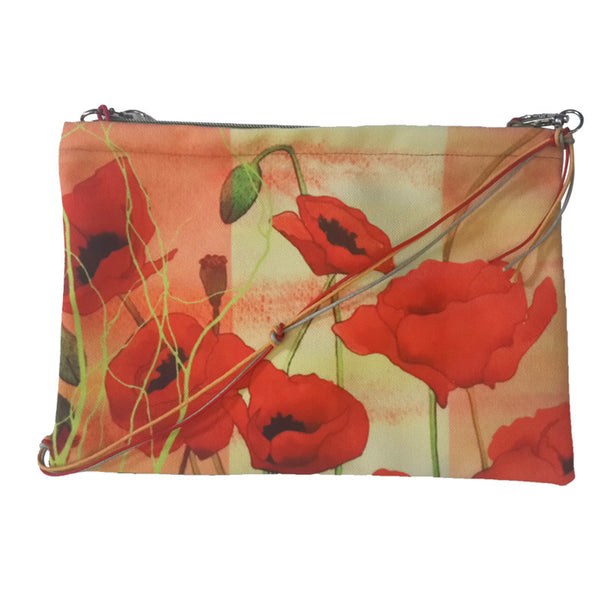 Leaf Designs Green & Bright Red Floral Sling Bag