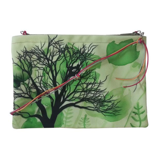 Leaf Designs Bright Green & Peach Floral Sling Bag