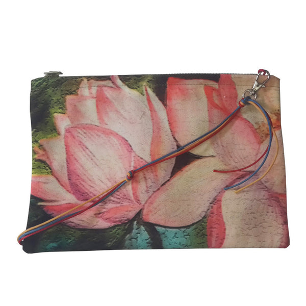 Leaf Designs Pink Lotus Sling Bag