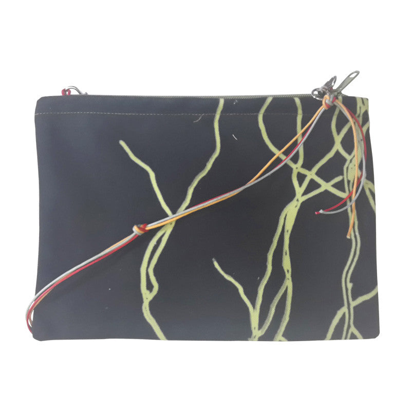 Leaf Designs Black & Red Floral Sling Bag