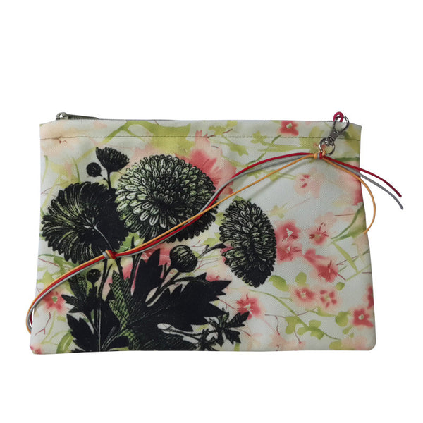 Leaf Designs Brick Red & Green Floral Sling Bag