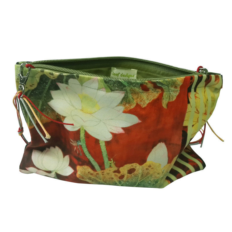 Leaf Designs Red Stripes Floral Sling Bag