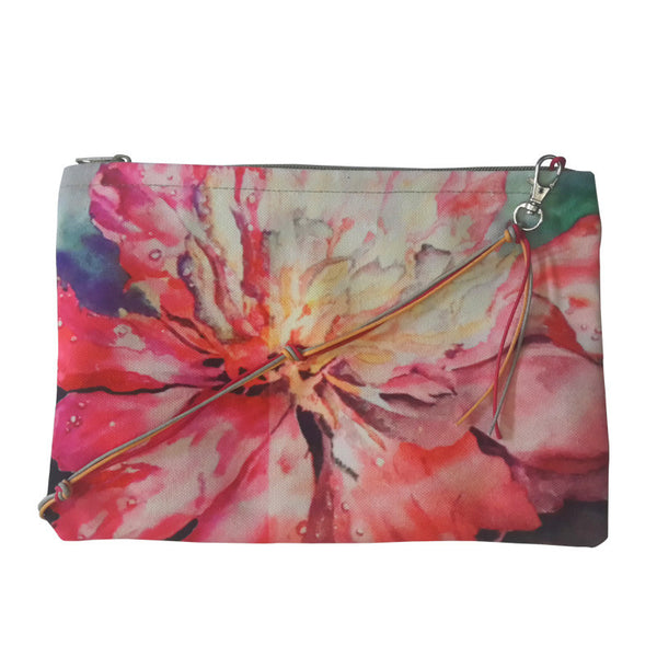 Leaf Designs Pink & Green Floral Sling Bag