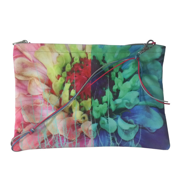 Leaf Designs Green & Pink Stems Sling Bag
