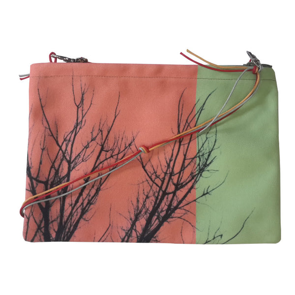 Leaf Designs Red & Black Floral Sling Bag
