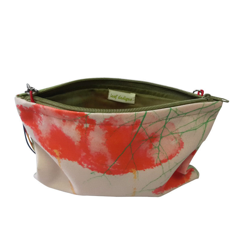 Leaf Designs Red & Pink Floral Sling Bag