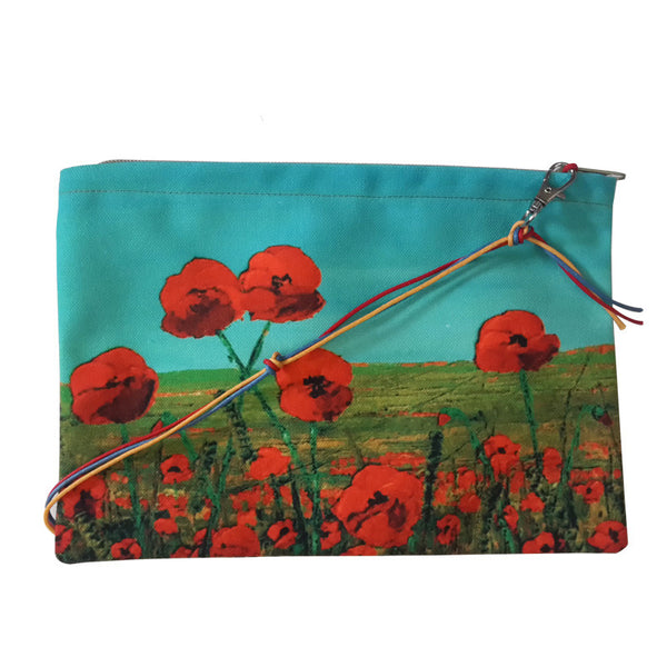 Leaf Designs Red & Blue Floral Sling Bag