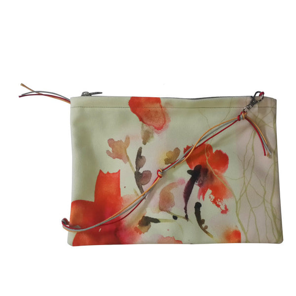 Leaf Designs Peach & Green Floral Sling Bag