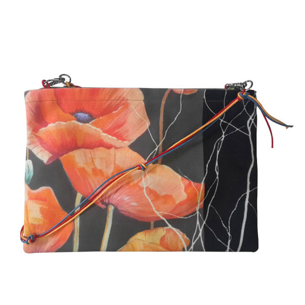 Leaf Designs Black & Green Floral Sling Bag