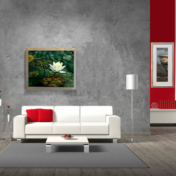Leaf Designs White & Green Lotus Poster