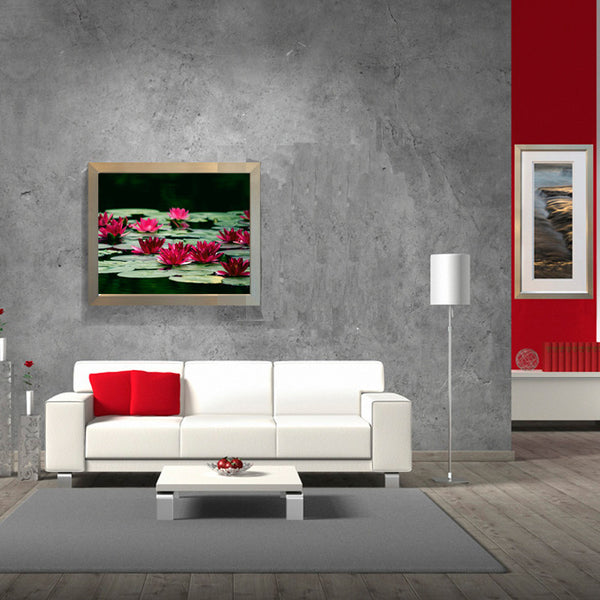 Leaf Designs Green & Red Lotus Poster