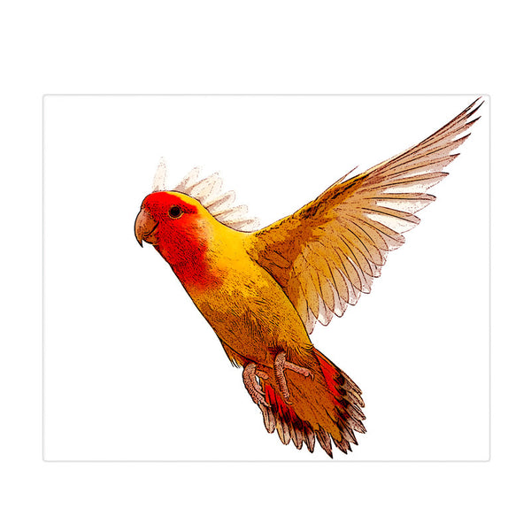 Leaf Designs Yellow & Orange Painted Bird Poster