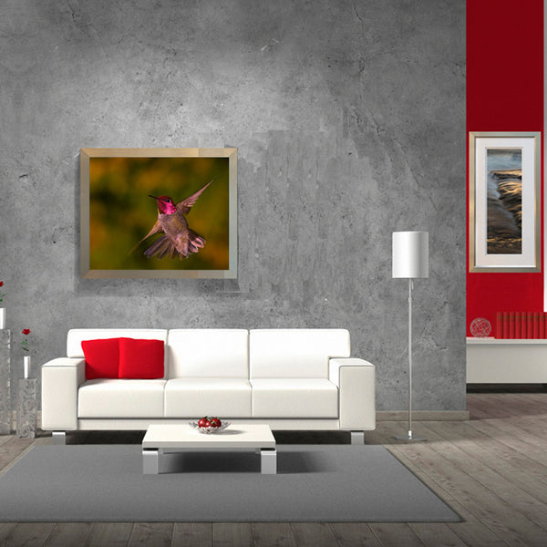 Leaf Designs Pink Flying Bird Poster