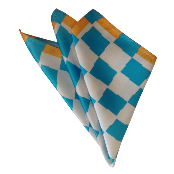 Leaf Designs Blue & Orange Geometric Pocket Square