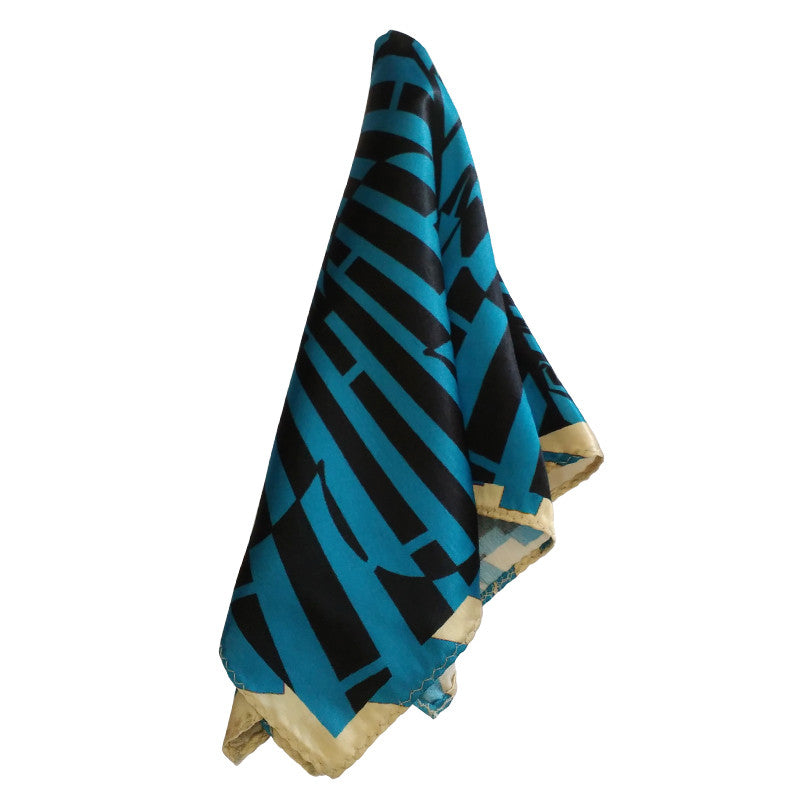 Leaf Designs Blue & Black Geometric Pocket Square