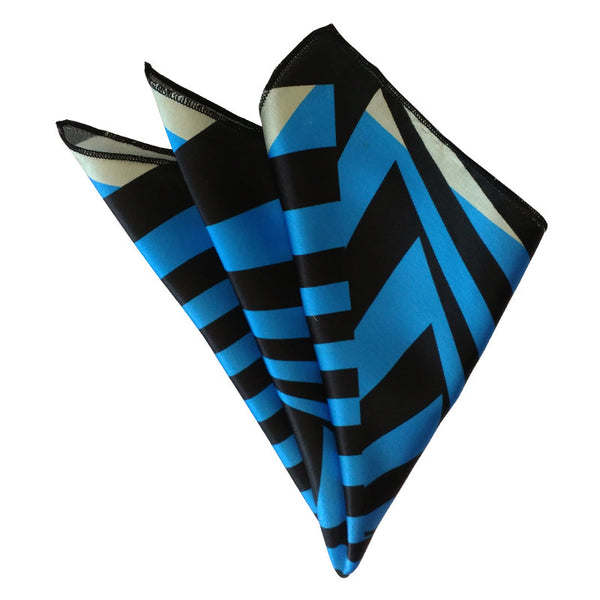 Leaf Designs Blue Geometric Pocket Square