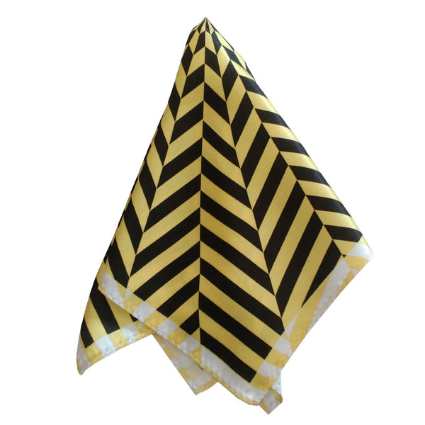 Leaf Designs Yellow Geometric Pocket Square