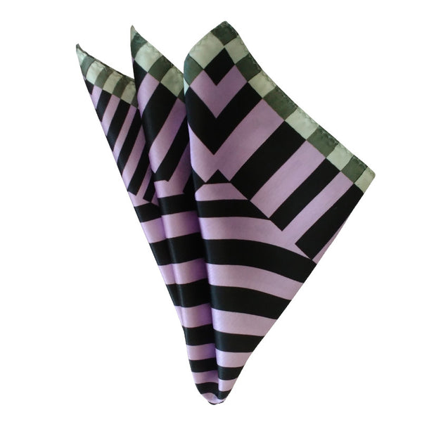 Leaf Designs Purple Geometric Pocket Square