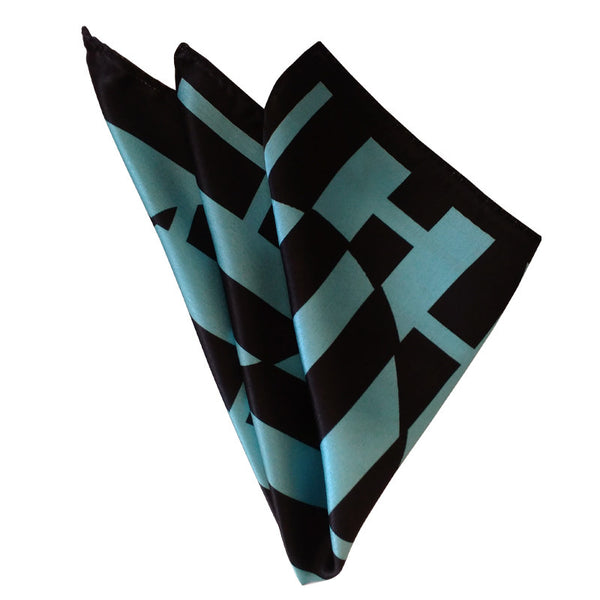 Leaf Designs Light Blue Geometric Pocket Square