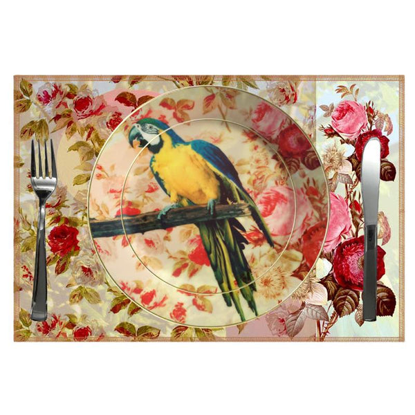 Leaf Designs Blue Parrot Ceramic Quarter Plate