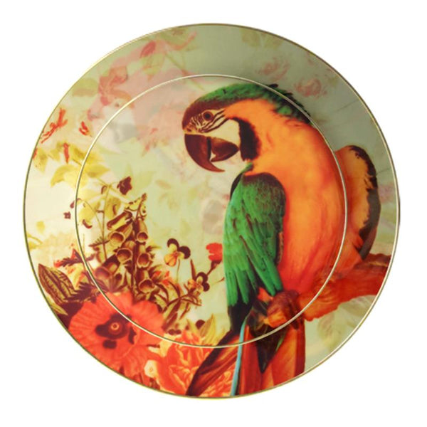 Leaf Designs Green Parrot (A) Ceramic Quarter Plate