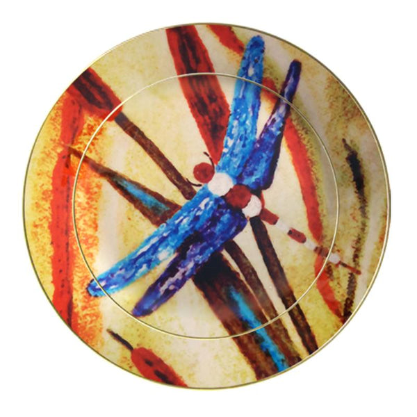 Leaf Designs Blue Dragonfly Ceramic Quarter Plate