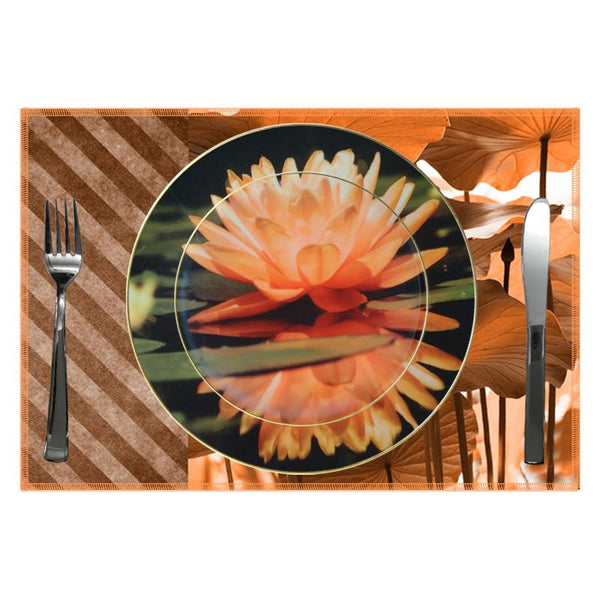 Leaf Designs Peach Lotus Ceramic Quarter Plate