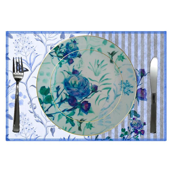 Leaf Designs Blue Vintage Quarter Plate