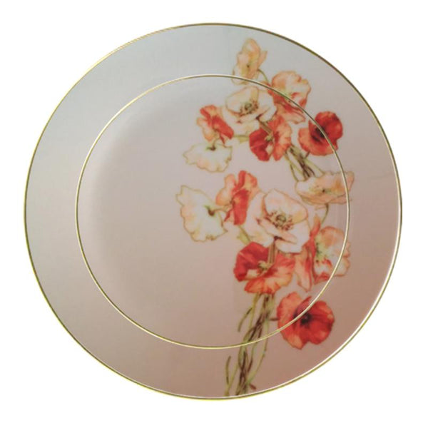Leaf Designs Shaded Taupe Floral Quarter Plate