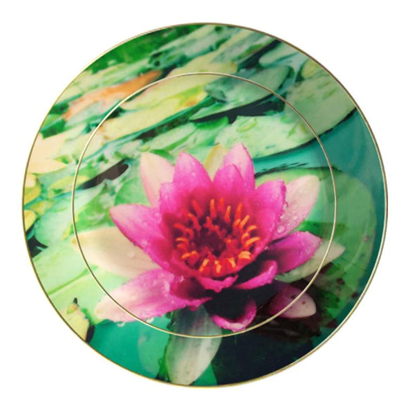 Leaf Designs Bright Pink Lotus Quarter Plate