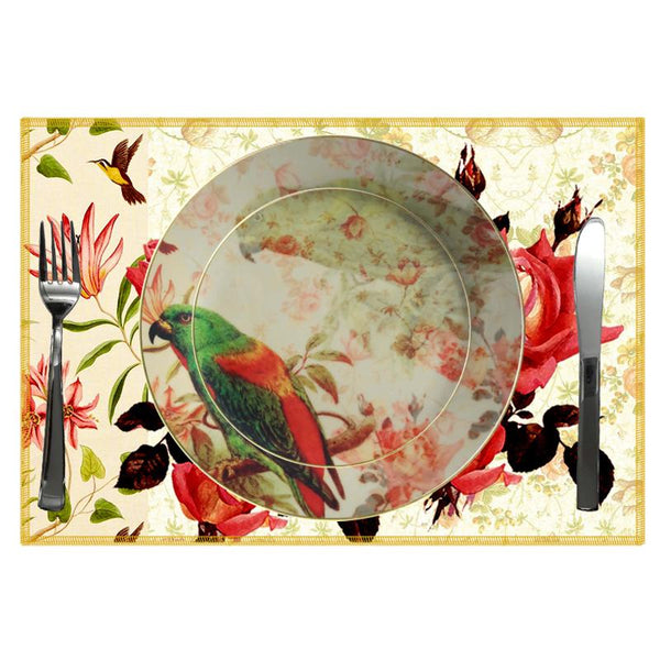 Leaf Designs Green Parrot Ceramic Quarter Plate