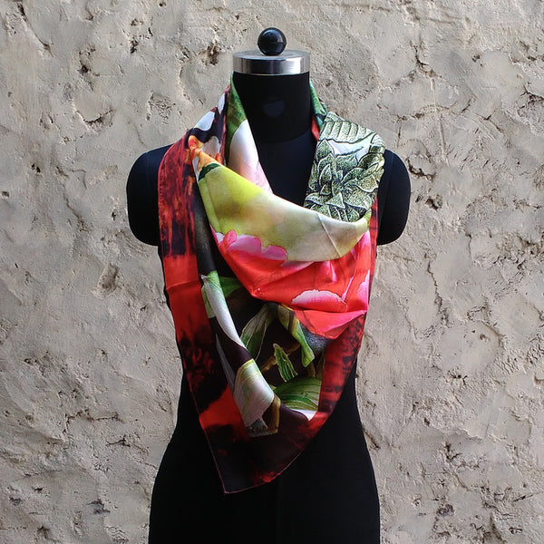 Leaf Designs Pink & Green Floral Scarf