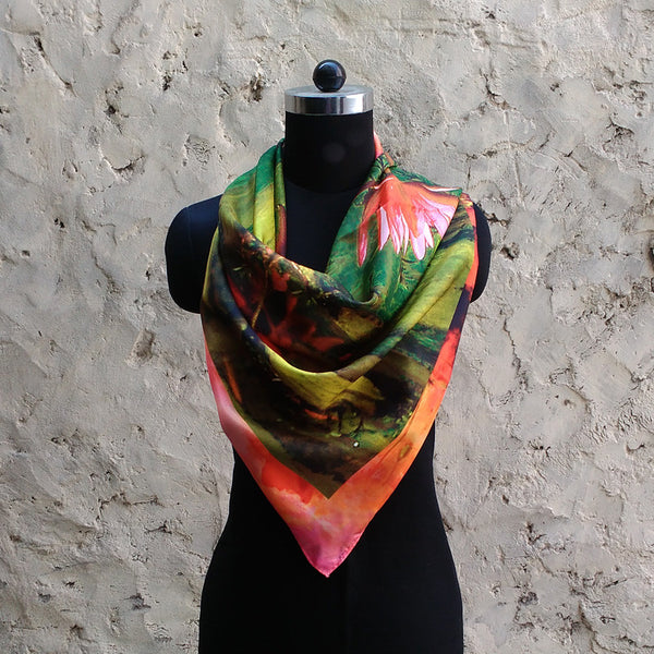 Leaf Designs Green & Pink Floral Scarf