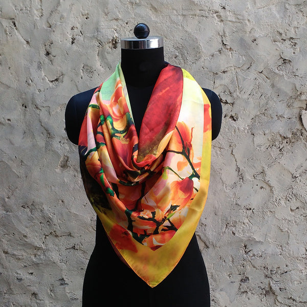 Leaf Designs Pink & Yellow Floral Scarf