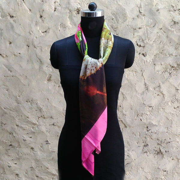 Leaf Designs Light Pink & Green Floral Scarf