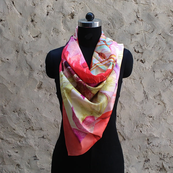 Leaf Designs Pink & Purple Floral Scarf