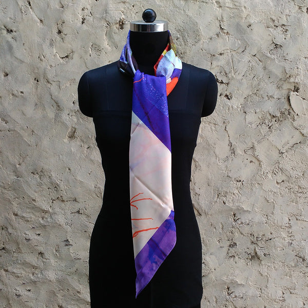 Leaf Designs Purple & Blue Floral Scarf