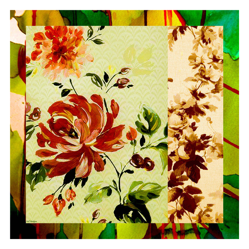 Leaf Designs Green & Peach Floral Scarf