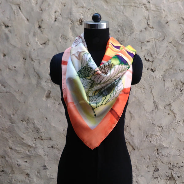 Leaf Designs Orange & Peach Floral Scarf