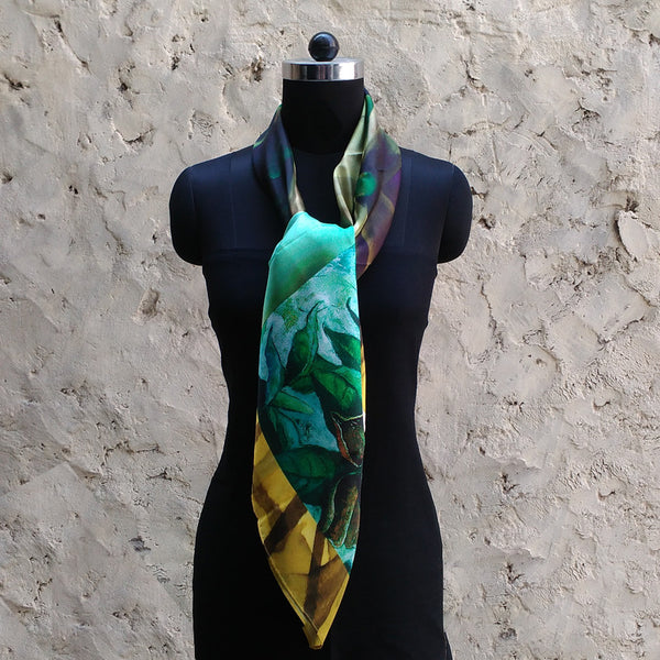 Leaf Designs Yellow & Blue Floral Scarf
