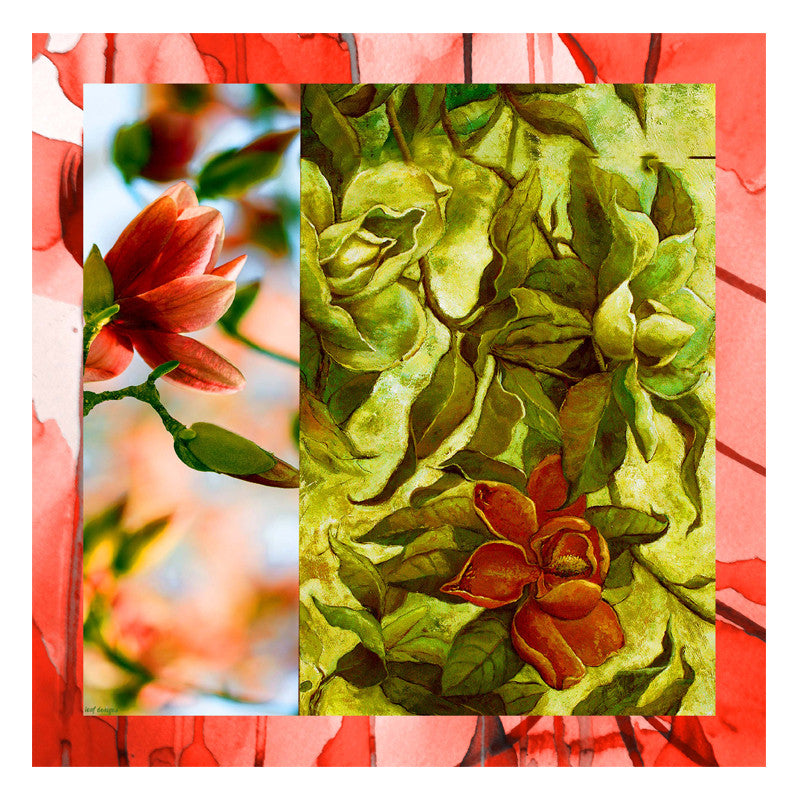 Leaf Designs Peach & Green Floral Scarf