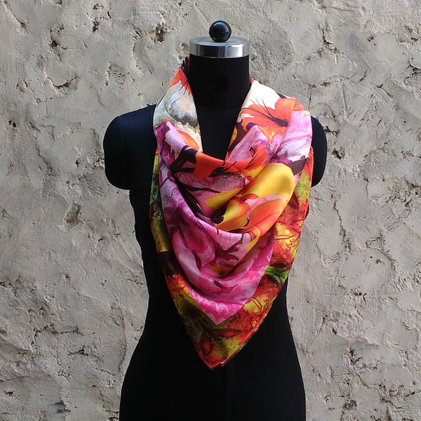 Leaf Designs Yellow & Purple Floral Scarf