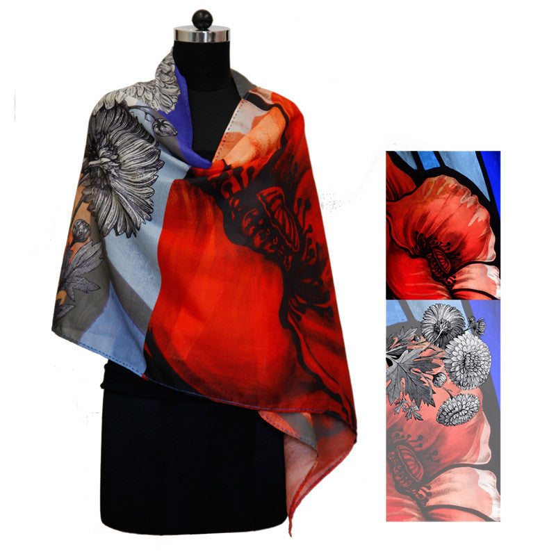 Leaf Designs Black & Orange Floral Stole